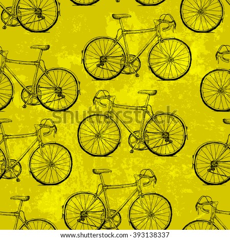 Hand-drawn Bicycles Seamless Pattern on Yellow Background. Raster version - stock photo
