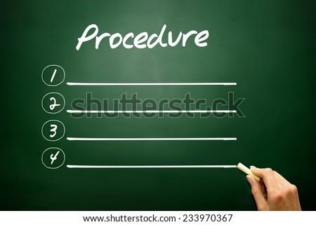 Hand drawn blank Procedure list concept on blackboard - stock photo