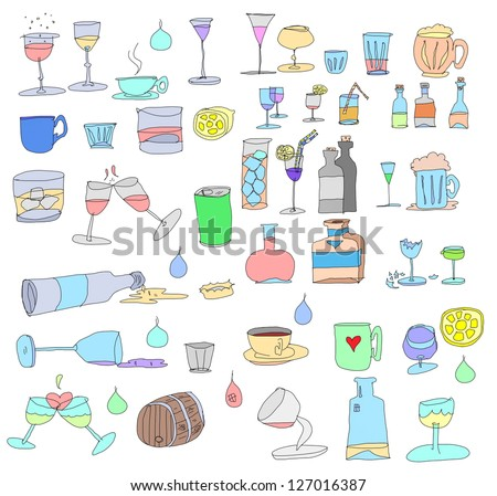 hand drawn bottles and glasses isolated on white - stock photo