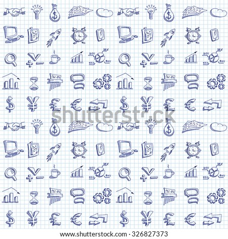 Hand drawn business icons on a square paper background. Seamless pattern. Doodle style. - stock photo
