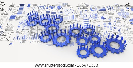 hand drawn business strategy 3d human gear to success as concept - stock photo