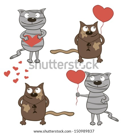 Hand-drawn cartoon cats with hearts. Raster version. - stock photo