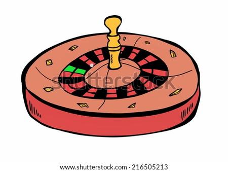 hand drawn casino roulette - stock photo