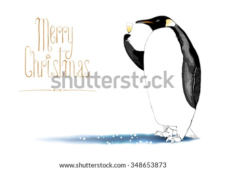 Hand drawn Christmas and New Year greeting card as rasterized illustration. Funny penguin enjoying a glass of Champagne. Handwritten lettering - stock photo