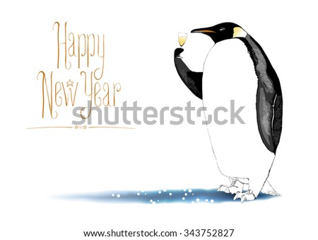 Hand drawn Christmas and New Year greeting card rasterized illustration. Funny penguin enjoying a glass of Champagne. Handwritten lettering - stock photo