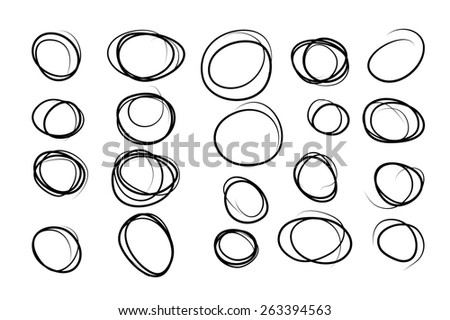 Hand drawn circles set for your design - stock photo