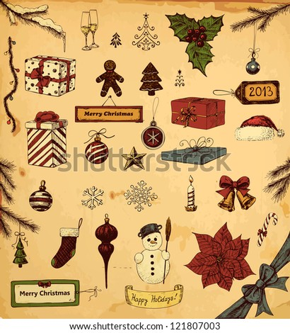Hand drawn collection of Christmas related objects - stock photo