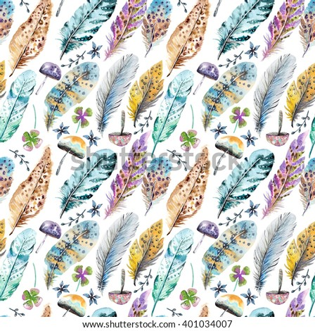 Hand drawn colorful watercolor feathers and mushrooms background, beautiful illustration, seamless pattern - stock photo