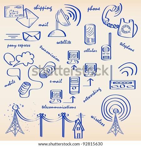 Hand Drawn Communications Icon Set - stock photo