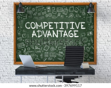 Hand Drawn Competitive Advantage on Green Chalkboard. Modern Office Interior . White Brick Wall Background. Business Concept with Doodle Style Elements. 3D. - stock photo