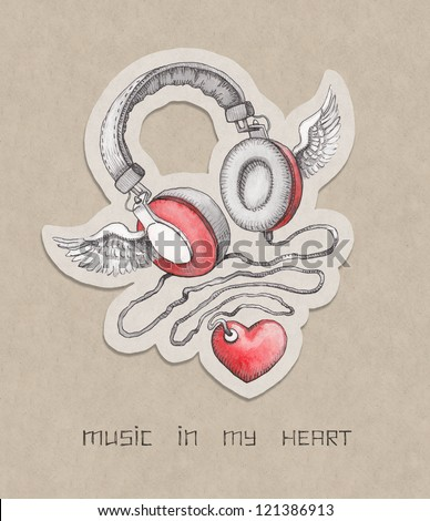 Hand drawn concept illustration. Headphones with wings and heart - stock photo