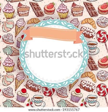 Hand drawn confectionery seamless pattern croissant Cupcake candy marshmallow ice cream cake donut and coffee. doodle frame, ribbon.  - stock photo