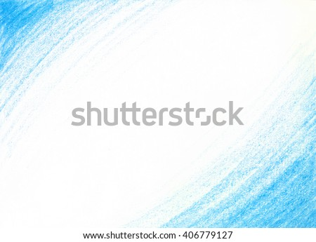 Hand-drawn crayon scribble background in blue colors. aquamarine wax pencil. Frame design element. Texture blue color.White background with triangular edges. Nautical, marine, winter theme background. - stock photo