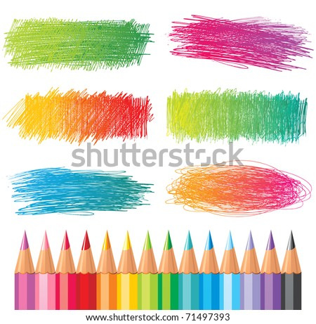 hand drawn creative banners and color pencils - stock photo