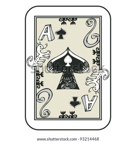 hand drawn deck of cards, doodle ace of spades isolated on white background - stock photo
