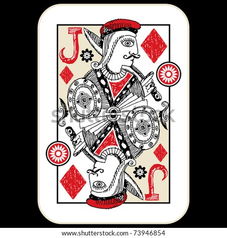 hand drawn deck of cards, doodle jack of diamonds - stock photo