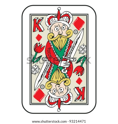 hand drawn deck of cards, doodle king of diamonds isolated on white background - stock photo