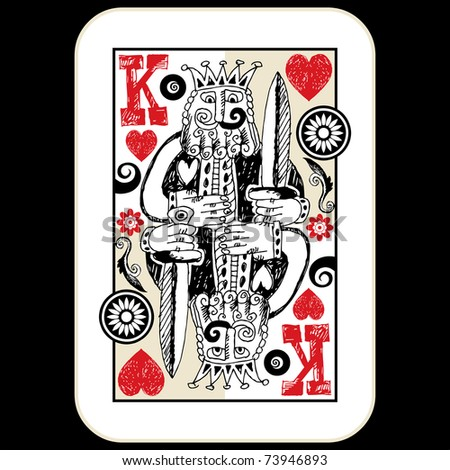 hand drawn deck of cards, doodle king of hearts - stock photo