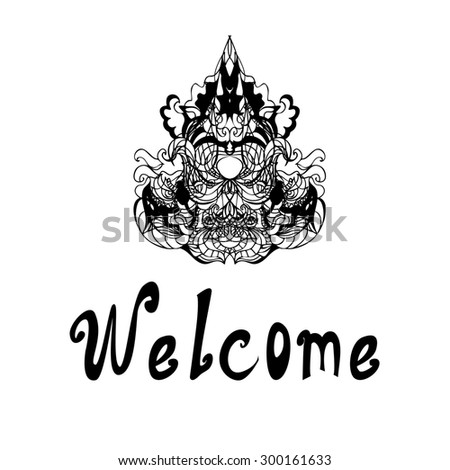 "Hand drawn decorative design elements, frames cards with the inscription ""welcome"", line, raster copy of illustration - stock photo"