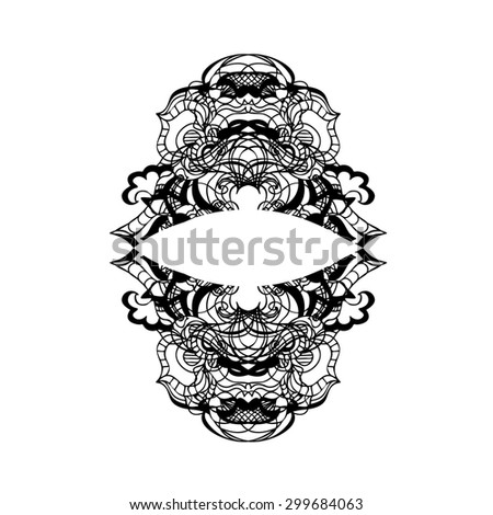 Hand drawn decorative design elements, frames maps, linear raster copy of illustration - stock photo