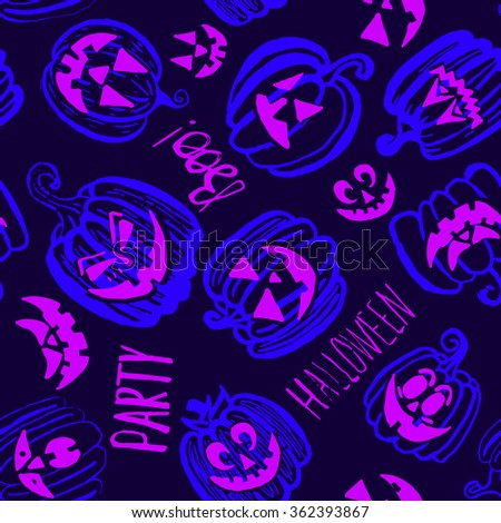 Hand drawn doodle Halloween pumpkin seamless pattern. Purple and blue bright cartoon seamless texture. Can be used for invitation, fabric, paper printing, web background. Raster version - stock photo
