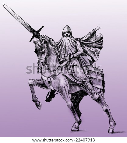 Hand drawn drawing of the statue of El Cid in Burgos, Spain. El Cid is the Spanish national hero. Monochrome on purple background - stock photo