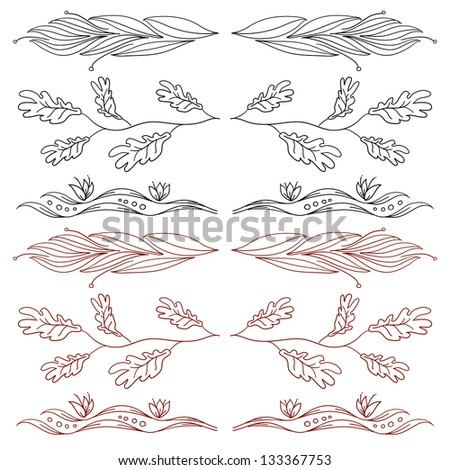 Hand-drawn elements and monograms for design and decorate. Raster version - stock photo