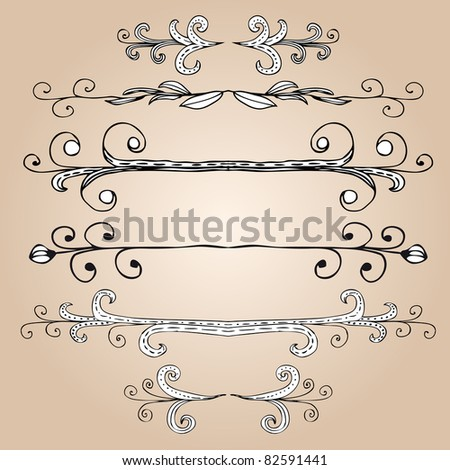 Hand-drawn elements and monograms for design and decorate. Raster version. - stock photo