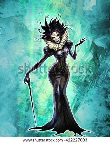 Hand drawn fantasy illustration of a strange and spooky female halloween character on abstract background - stock photo