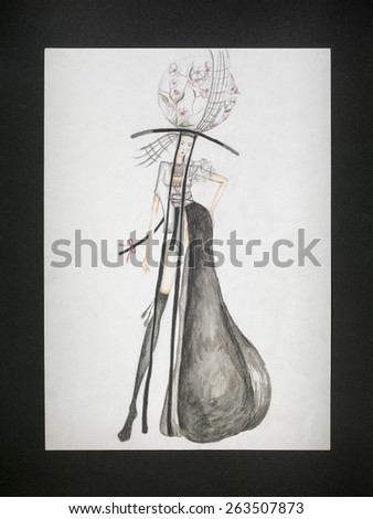 hand drawn fashion dress design sketch inspired by japanese culture - stock photo