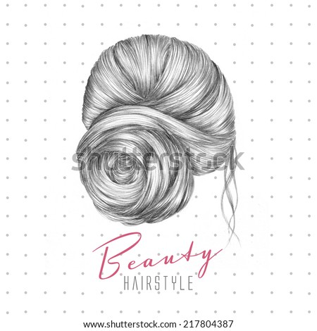 Hand drawn fashion illustration. Hair style for female. - stock photo