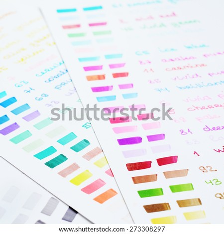 Hand drawn felt markers palette with different colors - stock photo
