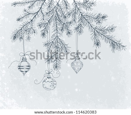 Hand drawn fir branch with Christmas decoration - stock photo