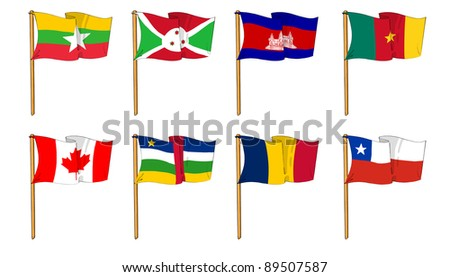 Hand-drawn Flags of the World - letter B and C - stock photo