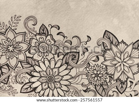 hand drawn flower design sketch in black ink on brown gray background, elegant vintage style fancy floral doodle pattern of fancy curls and line design elements, cute fresh spring design - stock photo