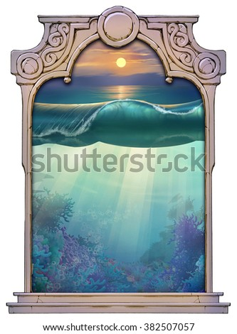 hand drawn framed illustration of a beautiful sea landscape in the sunset - stock photo