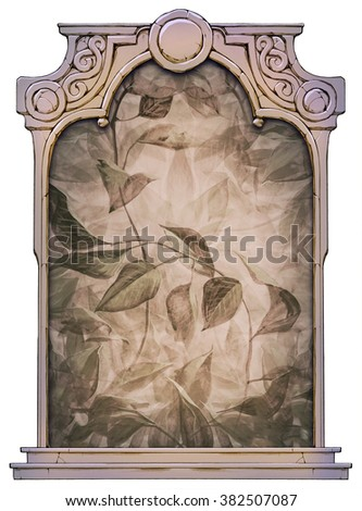hand drawn framed illustration of nature background with leaves  - stock photo