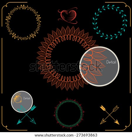 Hand drawn frames and laurels. Vintage curl ornamental elements that can be used as a page decoration. Hand drawn design. Colorful wreath - stock photo