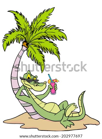 Hand drawn gator relaxing under a palm tree/ Florida Alligator - stock photo