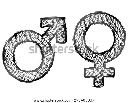 Hand drawn gender symbols with light hatching. Sketch of man and woman signs in doodle style. Illustration about man, woman, sex differences, relationship, gender role, sexual orientation, etc - stock photo