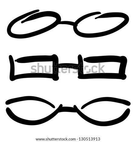 Hand Drawn Glasses and Sunglasses silhouettes. Raster Sketch - stock photo