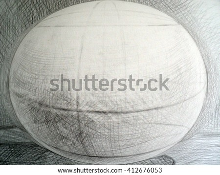 hand drawn graphics surround the oval, line art, geometry, physics of light - stock photo
