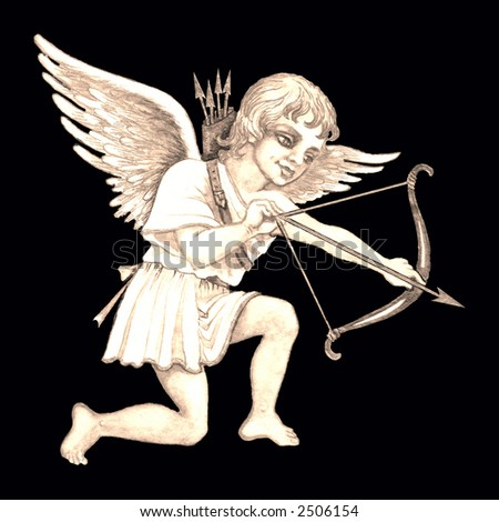 Hand drawn illustration of cupid with bow and arrow over black background . - stock photo