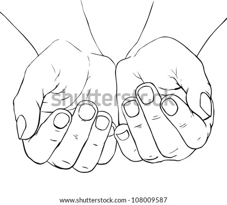 Hand -drawn illustration of cupped female hands - stock photo