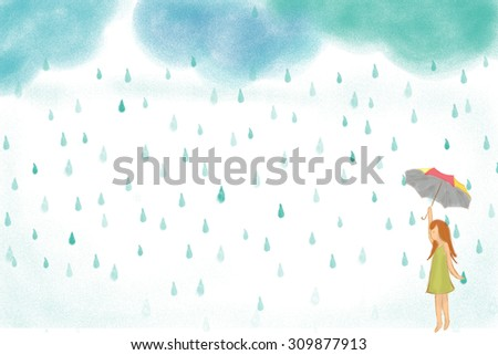 hand drawn illustration of girl holding colorful umbrella in rainy day. Idea concept of hope, waiting, wish, sad, lonely, alone, fun, happy. Suitable for wallpaper, background design - stock photo