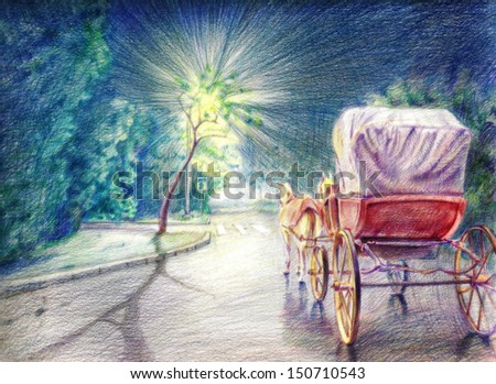 Hand Drawn Illustration of Horses and Carriage on the Street - stock photo