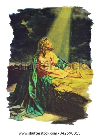 Hand drawn illustration of Jesus christ praying in the garden - stock photo