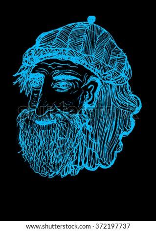 Hand drawn illustration of old man, black and blue drawing. drawing cartoon, Grey Hair - stock photo