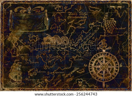 Hand drawn illustration of old pirate map with gold silhouettes on blue background, image with inverse effect and grunge paper texture - stock photo