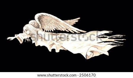 Hand drawn illustration of white flying guardian angel over contrast black background . - stock photo